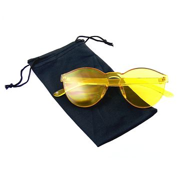 Fashion Womens Mens Clear Novelty Sunglasses UV400 Outdoor Frameless Eyewear