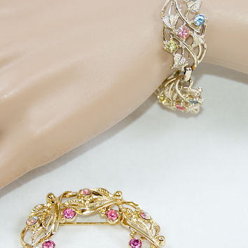 Pastel Vintage Pin and Bracelet Set