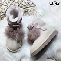 Ugg 2018 winter new trend hair ball bow female short boots