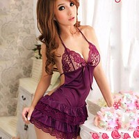 2017 Sexy Lingerie Dress Underwear Purple Robe+G-string Halter Summer Lace nightwear