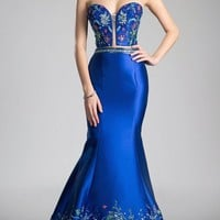 Royal Blue Bead Embroidered Two-Piece Prom Gown Strapless