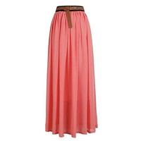 Broadfashion Women's Vintage Pleated Chiffon Maxi Boho Beach Skirt Dress