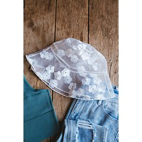 Bailey Floral Mesh Bucket Hat, White