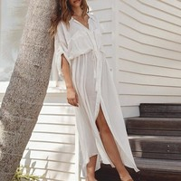 Elegant white cotton beach dress women Lace up straight long female shirt dresses Holiday loose cover-up ladies vestidos