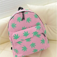 Women's Canvas Maple Leaf Printing College Student School Book Bag Leisure Pink Backpack