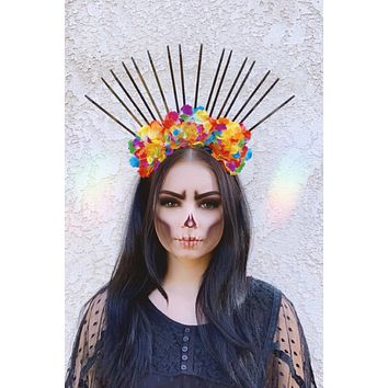 Rainbow & Black Spike Crown #D1050