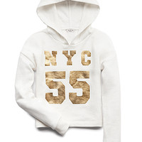 FOREVER 21 GIRLS NYC 55 Hoodie (Kids) Ivory/Gold
