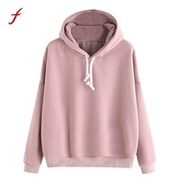 Autumn Sweatshirts For Women 2018 Pink women's Gown With A Hood Hoodies Ladies Solid Long Sleeve Casual Hooded Harajuku Clothes
