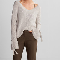 Tie Sleeve Split Back Cropped Sweater
