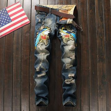 Slim Strong Character Weathered Embroidery Pants Jeans [264173125661]