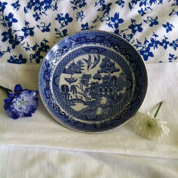 Blue Willow Dessert Dish Vintage or Antique Ridgway of Staffordshire England Blue White Chinese Pattern Jam Butter Dish English Transferware