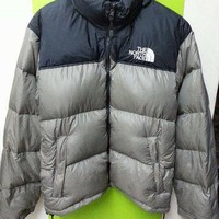 Vintage 90's The North Face Goose Puffer Bomber Black Grey Jacket