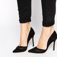 New Look Sticky Black Cut Out Heeled Court Shoes