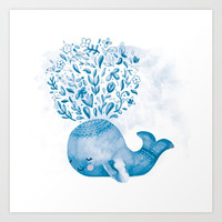 Cute Watercolor Whale Art Print by noondaydesign