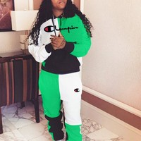 Champion Autumn And Winter New Fashion Embroidery Letter Sports Leisure Long Sleeve Top And Pants Two Piece Suit Green