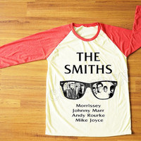 The Smiths Morrissey UK 80s Alternative Pop Rock Shirt Red Sleeve Shirt Women T-Shirt Men T-Shirt Unisex T-Shirt Baseball Tee Shirt S,M,L