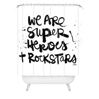 Kal Barteski Superheroes Shower Curtain