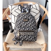 Dior  new Canvas Backpack With silk scarf Free dog Pendant