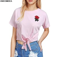 Women T Shirt Embroidery Rose