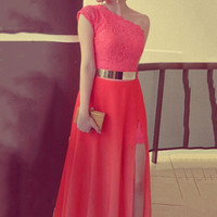 Red Oblique Shoulder Lace Accent Chiffon Maxi Slit Dress