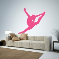 "Gymnastics Silhouette Style - 13 Graceful Leap - Hot Pink - 12""W x 11""H - Peel and Stick Wall Decal by Wallmonkeys"