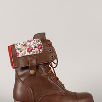 Bamboo Surprise-01N Printed Cuff Military Lace Up Boot