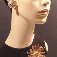 St. John Vintage Designer Earrings Gold Rhinestone Clip On - Signed Vintage Jewelry (Listing Is For Earrings Only - Brooch Sold Separately)