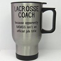 Lacrosse Coach travel mug, stainless steel travel mug for LAX coach, 14 ounce capacity, double-walled, no-spill pop top