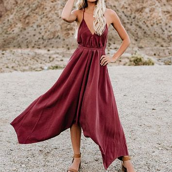 2019 new women's sexy halter strap irregular dress Red