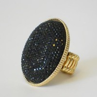 Noir Bouclé Oval Ring [2198] - $11.00 : Vintage Inspired Clothing & Affordable Fall Frocks, deloom | Modern. Vintage. Crafted.