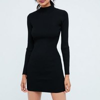 Missguided - Black Basic High Neck Long Sleeve Sweater Dress