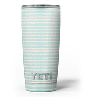 The Teal and Coral Striped Patttern - Skin Decal Vinyl Wrap Kit compatible with the Yeti Rambler Cooler Tumbler Cups
