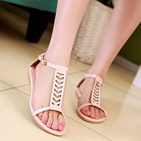 Summer Gladiator Sandals Flats Shoes Woman