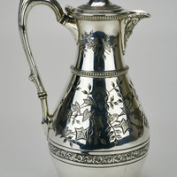 Silver Plated Engraved Water Jug Atkin Brothers Antique English 19th Century