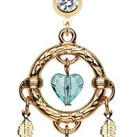 Golden Colored Heart Hoop Dream Catcher Belly Button Ring