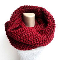 Chunky knitted scarf ,oversized infinity scarf , unisex chunky scarf ,womens fashion , red winter fashion scarves ,men's scarves
