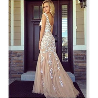 Summer style Elegant Woman backless appliques Lace Prom maxi Dress