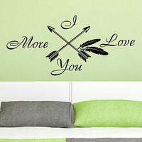 Wall Decals Quotes I Love You More Arrow Feather Arrows Fashion Bohemian C569