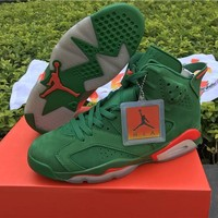 Nike Air Jordan 6 Retro Gatorade NRG G8RD Pine Green Orange AJ5986-335  Basketball Sneaker