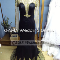 Long Sleeves Black Evening Dress Prom Gown with Gold Lace Appliques Formal Dress