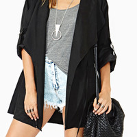 Black Hooded Drawstring Roll Up Sleeve Trench Coat