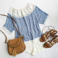 Cupshe Just For You Off the Shoulder Lace Top