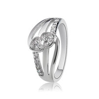 AR002 925 Silver Plated Crystal Heart to Heart Design Ring (Silver) Sz 9