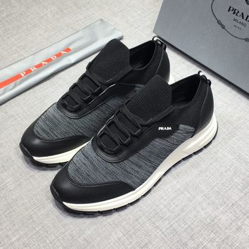 Prada Men's Leather Fashion Low Top Sneakers Shoes