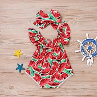 New Arrival Girl Summer Casual Lovely Rompers Infant Baby Girls Clothes Watermelon Jumpsuit Romper Playsuit Headband Outfits