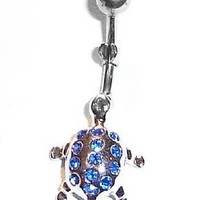 Body AccentzTM Belly Button Ring Navel Turtle Body Jewelry Dangle 14 Gauge