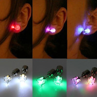 Cool Light Up Led Earrings Studs Dance Party Accessories Christmas Gift + Nice Gift Box