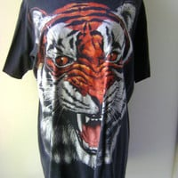 TIGER T Shirt Vintage 1990s Animal Print Short Sleeve Size L Large Mens Womens Graphic Tee Hipster Black Cotton Oversized Baggy Grunge 90s