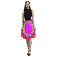 Psycadelic Patterns 6 Women's Pleated Midi Skirt (Model D15)