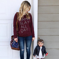 MAMA SLAY ALL DAY Heathered Wine Pullover